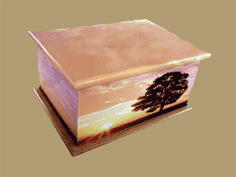 MDF Sunset printed casket for ashes