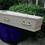Unvarnished oak veneer coffin
