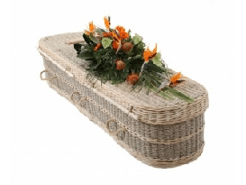 Rounded sea grass coffin