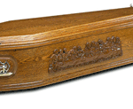 Wooden coffin depicting the Last Supper