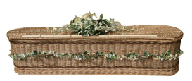 Woven coffin with brown banding