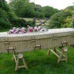 Woven split bamboo coffin