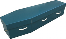 green painted cardboard coffin