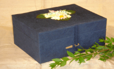 Handmade paper chest for ashes - Navy Blue