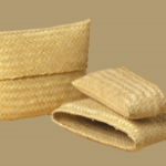 Woven bamboo pouch urn
