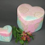 Pastel coloured, heart shaped urn