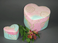 Pastel coloured, heart shaped urn