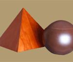 Cherrywood pyramid and ball urns
