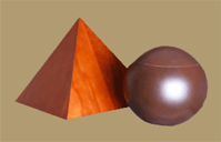 Cherrywood pyramid and ball urns