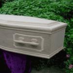 Unvarvnished Oak veneer coffin with raised panels