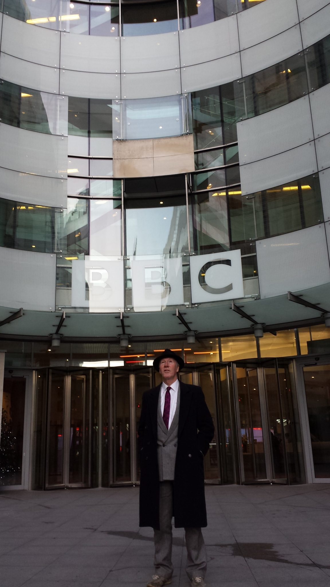 Stroud Funeral Director outside BBC London's HQ
